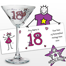 Personalised Purple Ronnie Young Female Cocktail Glass