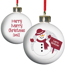 Personalised Christmas Bauble - Snowman