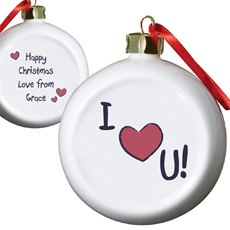 Personalised I Heart U Bauble