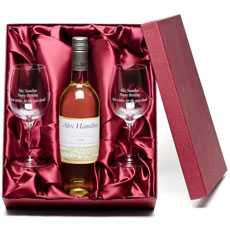Personalised White Wine with Engraved Glasses
