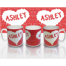 Personalised Petal Heart Mug