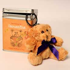 Personalised Mothers Day Keyring Teddies in a Tin - Illustrated