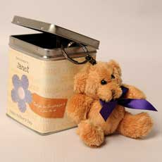 Personalised Mothers Day Keyring Teddies in a Tin - Heartfelt