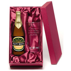 Personalised Cider and Glass Gift Set