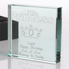Personalised Square Glass Keepsake - Little Princess
