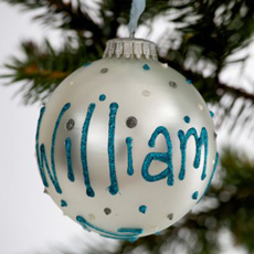 Personalised Christmas Bauble - White Pearl