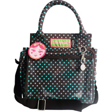 Shopping has never been more eco-friendly with the Trolley Dolly Eco Shopping Bag in Mini Dot Turquoise and Chocolate!
