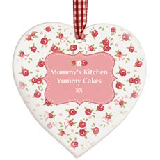 Personalised Wooden Heart Decoration - Floral