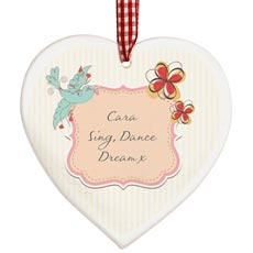 Personalised Wooden Heart Decoration - Songbird