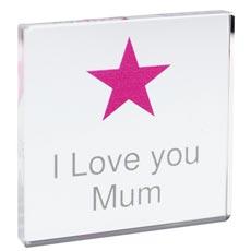 Personalised Pink Star Crystal Block
