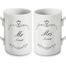 Personalised Ornate Mr and Mrs Mug Set
