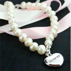 Personalised Fresh Water Pearl And Heart Charm Bracelet