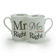 Personalised Mr Right and Mrs Always Right Mug Gift Set