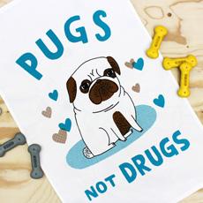 Pugs not Drugs Tea Towel
