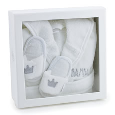 Baby Bathrobe and Slippers Gift Box