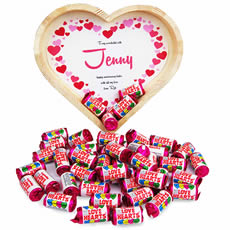 Personalised Heart Tray Filled with Love Heart Sweets