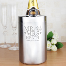 Personalised stainless steel wine chiller, great as a wedding present!