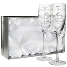 Personalised Couples Champagne Flute Set