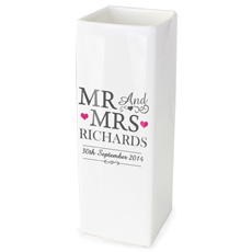 Personalised Mr & Mrs Square Vase