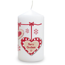 Personalised Christmas Heart Candle