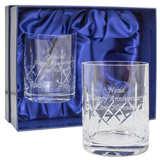 Pair of Cut Crystal Whisky Tumblers - Personalised