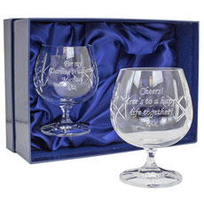 Pair of Cut Crystal Brandy Glasses - Personalised