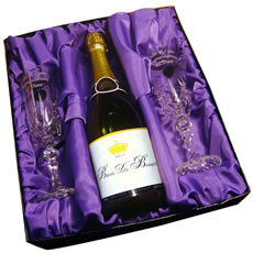 Personalised Bottle of Champagne with Crystal Flutes