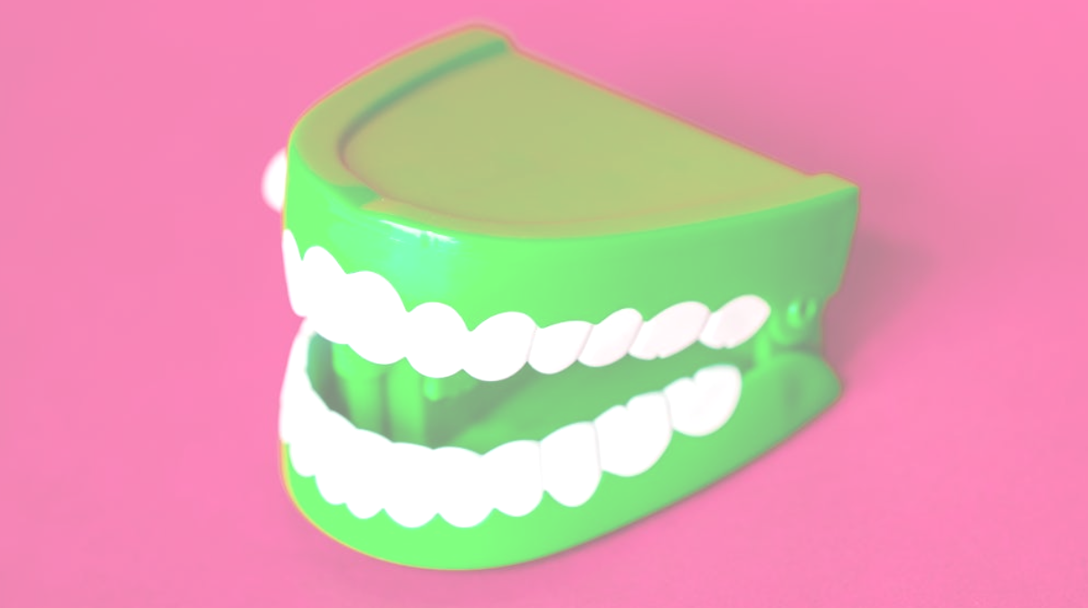 A set of novelty teeth with green gums