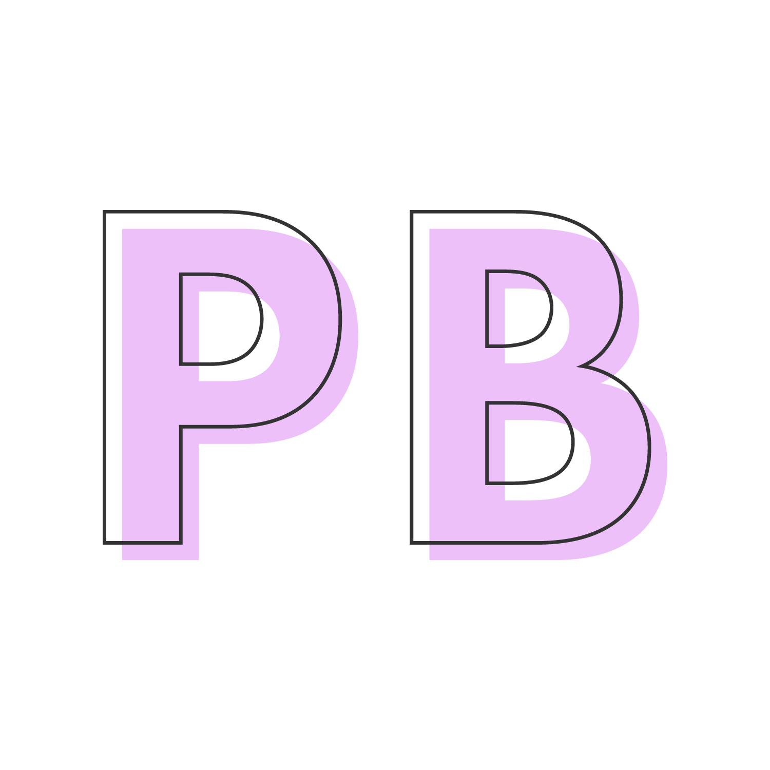 Letters 'P' and 'B' in pink.